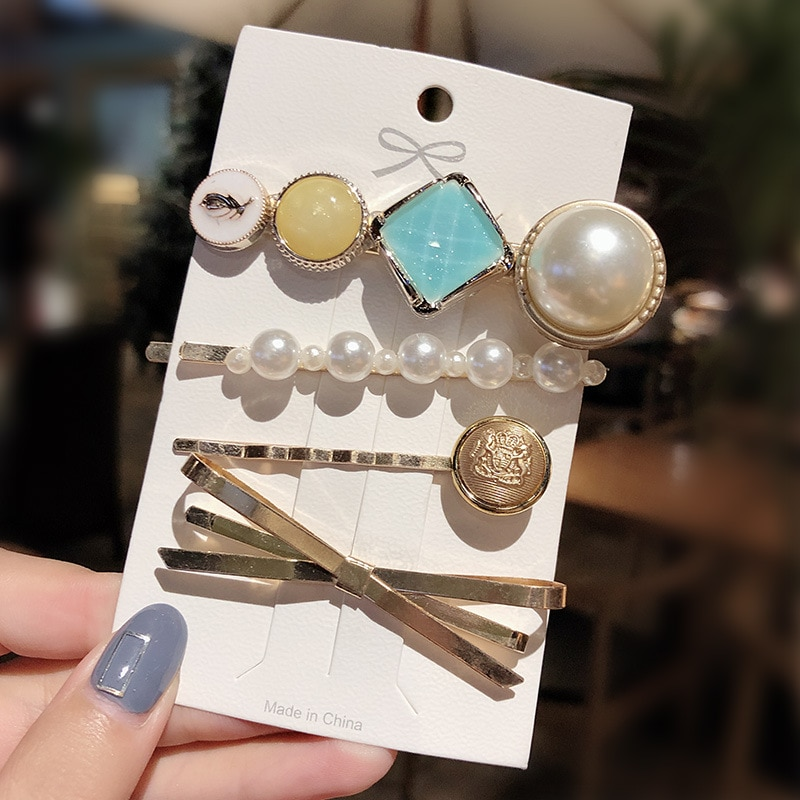 4 PCS/Set Fashion Pearls Acetate Geometric Hair Clips For Women Girls Headband Sweet Hairpins Barrettes Hair Accessories Set