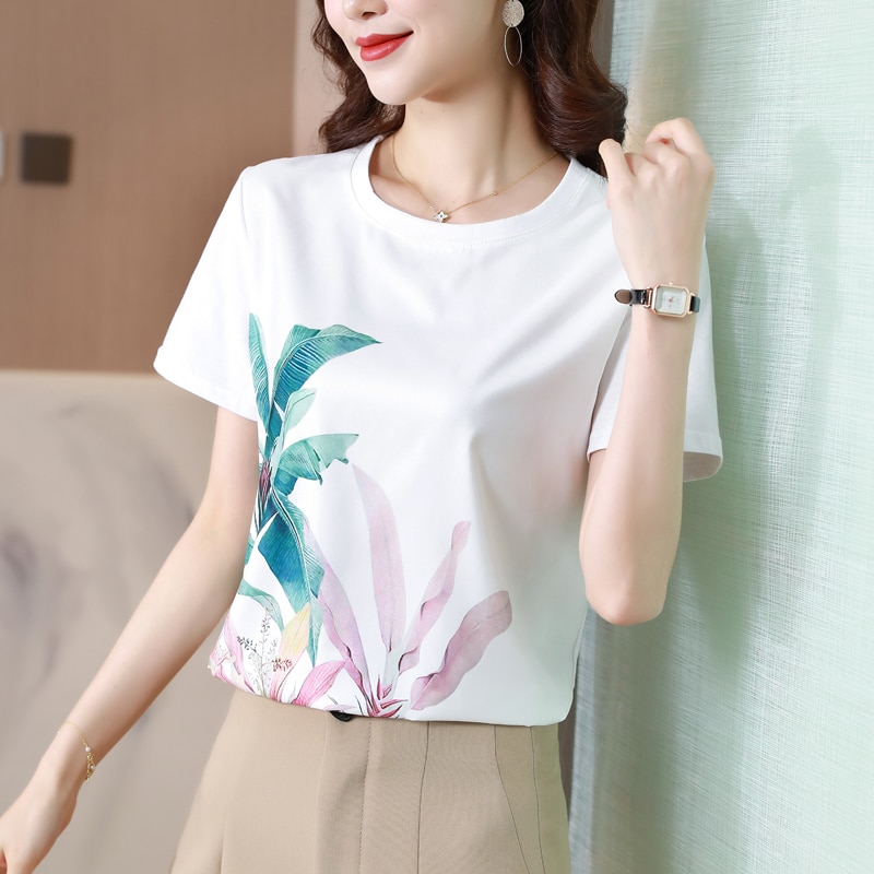 Korean Women Shirt Silk Blouses for Women Short Sleeve Shirts Tops Woman White Floral Pullover Blouse Tops Plus Size Woman Shirt