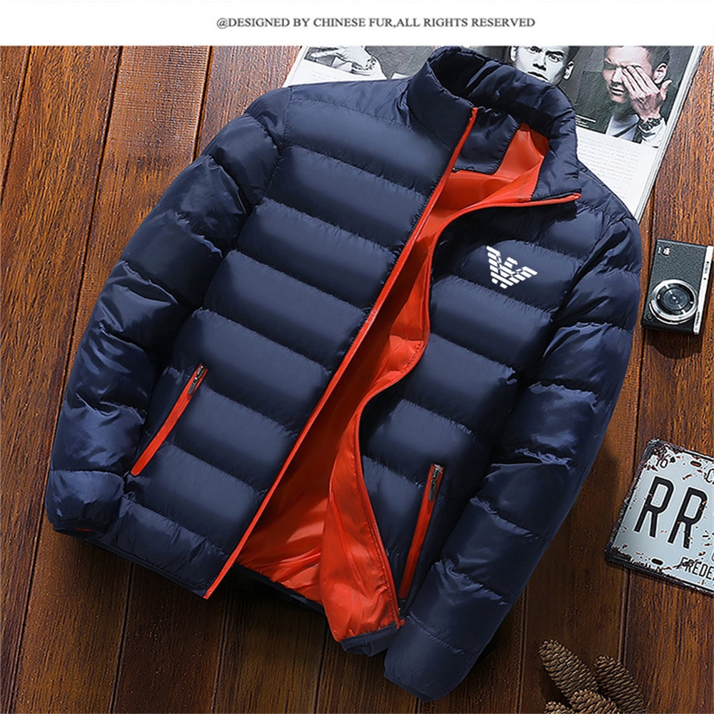 Men's High Collar Jacket Fashion Winter Outdoor Camping Solid Color Thick Parka Coat Casual Fashion Warm Jacket Cotton Brand Cas