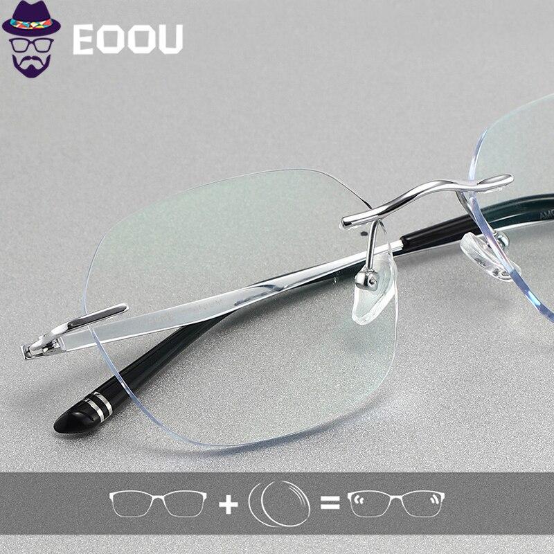 نظارات التيتانيوم بدون حواف للرجال ، عدسات فوتوكرومية ، بصريات بوصفة طبية ، مضادة للضوء الأزرق ، إطار عدسات متعدد البؤر
