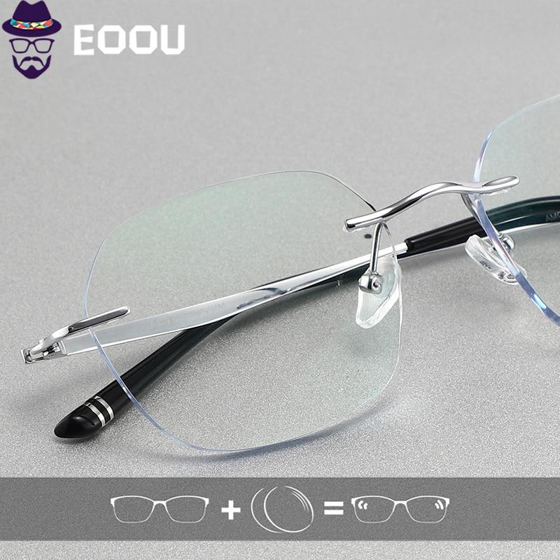 Gafas sin montura de titanio para hombre, gafas ópticas fotocromáticas, gafas de Marco multifocales antiluz azul