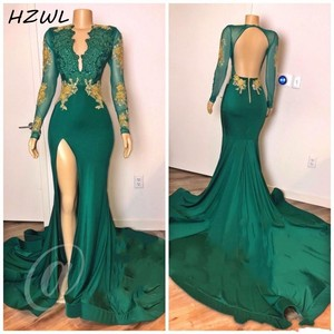 Hunter Mermaid Evening Dresses Side Split Long Sleeves Gold Lace Appliques Beaded Deep V Neck Backless Prom Dress Sexy платье