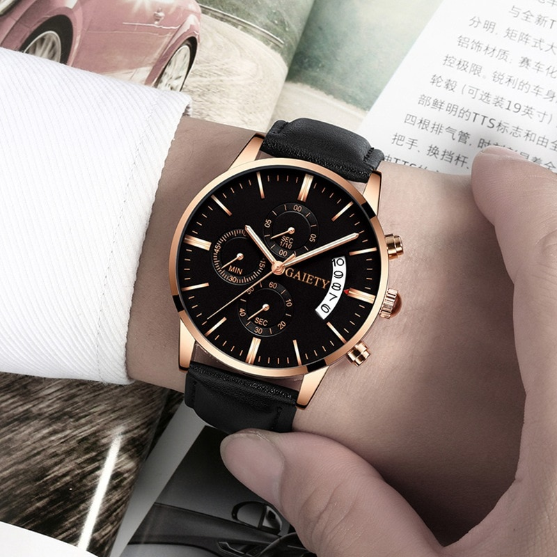 2019 relogio masculino watches men Fashion Sport Stainless Steel Case Leather Band watch Quartz Busi