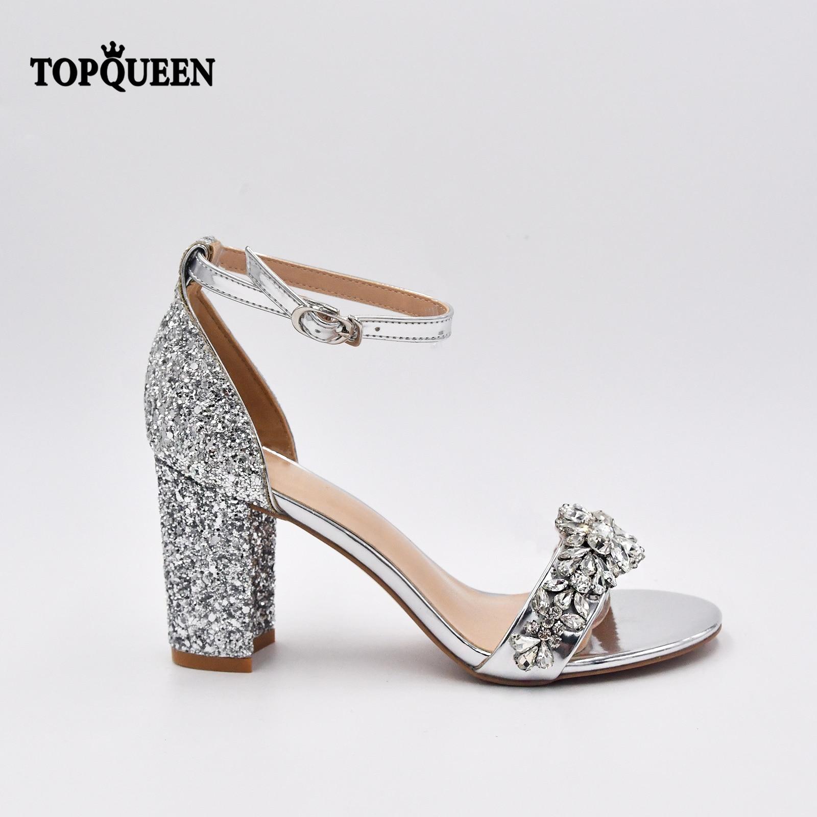 TOPQUEEN A06-S الفاخرة الزفاف الأحذية الأزياء تألق الفضة مثير المرأة مع حزام حزب اللباس الصنادل المفتوحة تو مضخات Pinkage