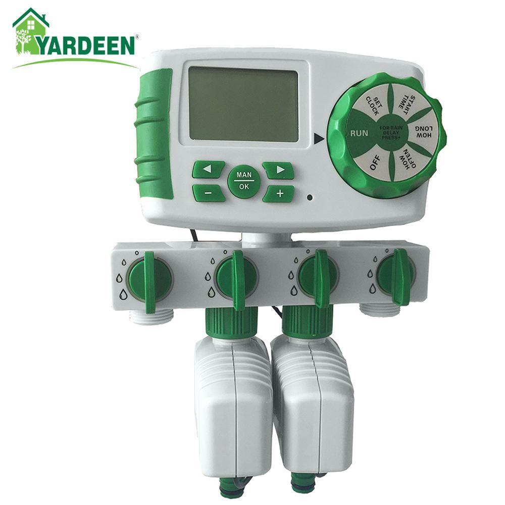 Автоматический 4-зонный таймер полива сада, таймер полива сада с 2 соленоидными клапанами