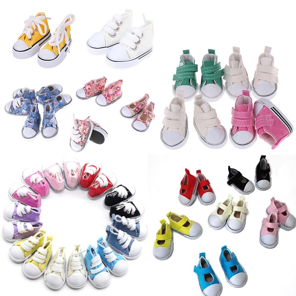 1 par de zapatos de lona de 5cm para muñeca BJD 1/6 Mini zapatos de muñeca de moda para muñeca rusa DIY muñeca hecha a mano accesorios de la muñeca