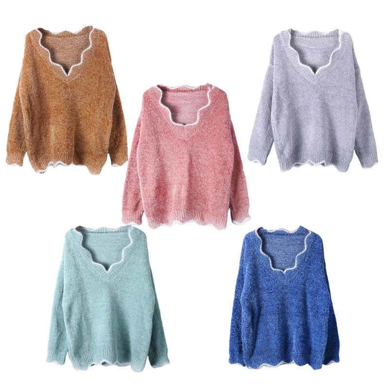 Women Winter Autumn Warm Sexy V-neck Knitted Sweater Casual Long Sleeve Pullover enlarge