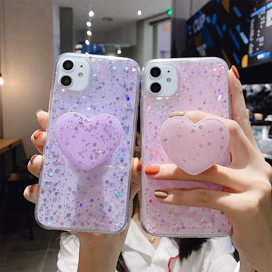 Funda de teléfono Bling Glitter para iphone 11, Funda 11 pro max 6 6s 7 8 Plus X XR XS Max, Funda con lentejuelas, Funda con soporte