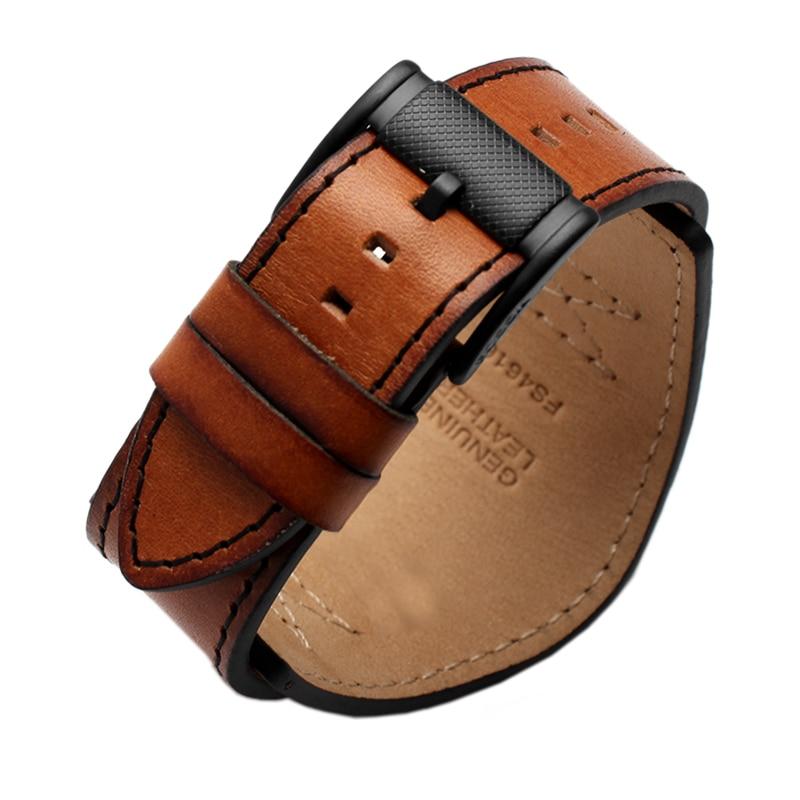 Pulsera de cuero genuino para hombre, correa de reloj de alta calidad de 22mm y 24mm para reloj fósil, correa para Relojes de Cuero artesanal