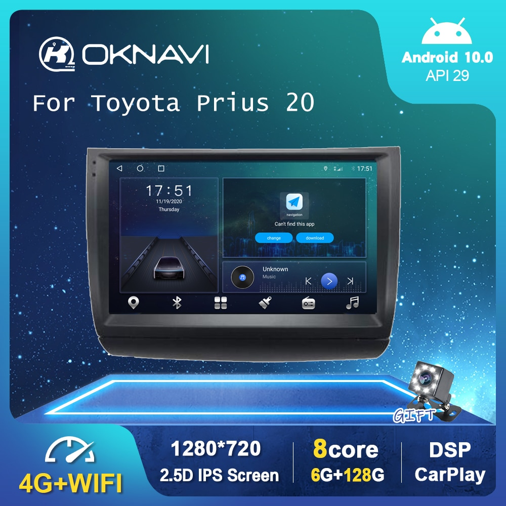 """9"""" 6G 128G Android 10.0 Car Multimedia Radio Player For Toyota Prius 20 2002-2009 GPS Stereo DSP Carplay WIFI Auto No 2 din DVD"""