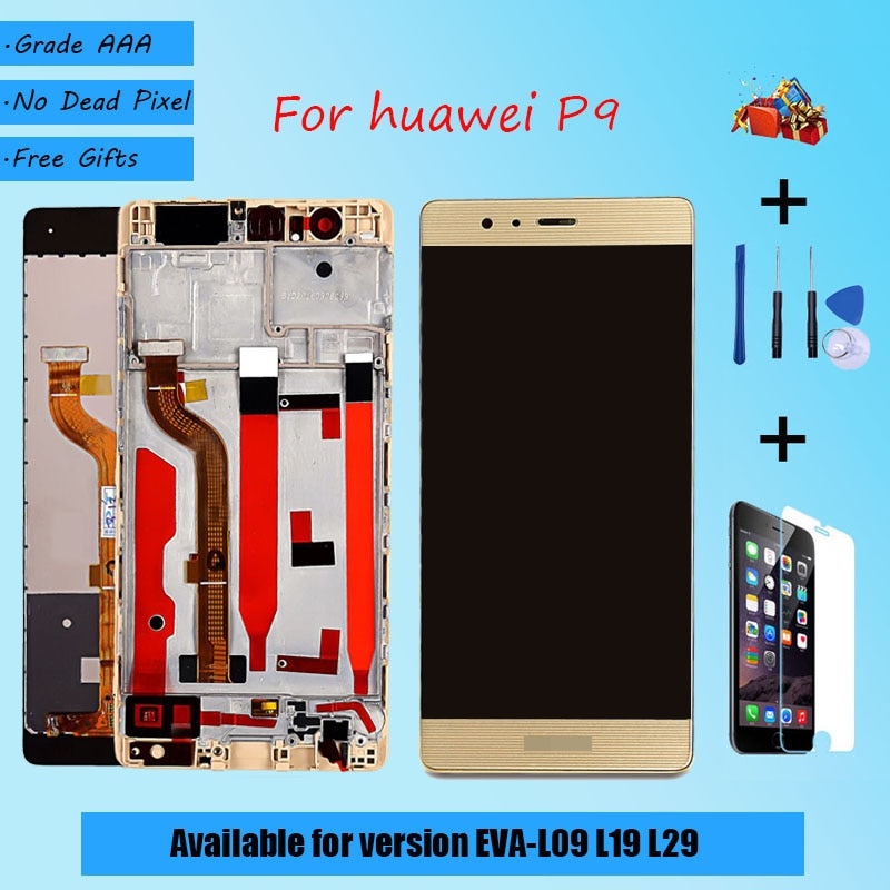 Para HUAWEI P9 EVA L09 L19 L29, ensamblaje de pantalla original LCD con cristal táctil de funda frontal, original negro, dorado, blanco