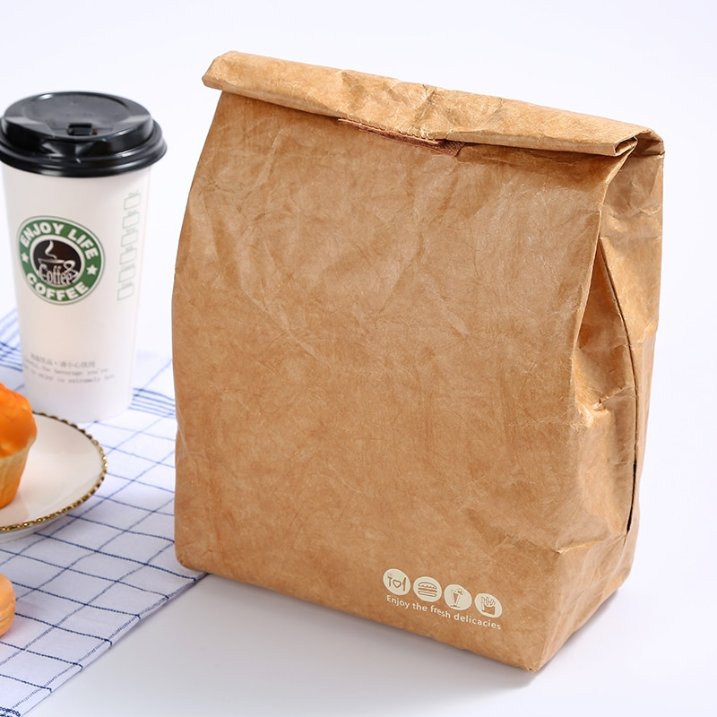 2020 bolsa de comida plegable reutilizable a prueba de fugas bolsa de gran capacidad comida bolsas de aislamiento térmico papel de aluminio marrón embragues