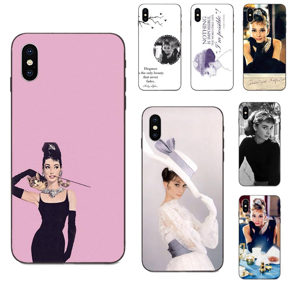 Ultra fino patrón de dibujos animados parte trasera del teléfono dura caso de Audrey Hepburn para Apple iPhone 4 4S 5 5S SE 6 6S 7 8 Plus X XS X Max XR