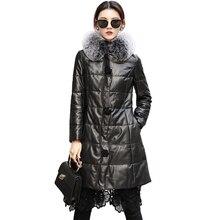 Réel fourrure de renard à capuche en peau de mouton vers le bas manteau hiver manteaux femmes vêtements 2020 naturel véritable veste en cuir coréen Vintage hauts 008