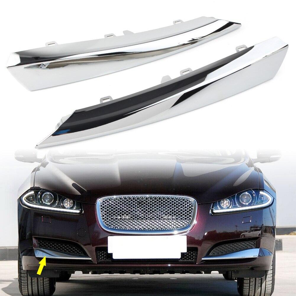 1 пара, автомобильная решетка для переднего бампера, боковая молдинговая отделка, левый и правый гриль для Jaguar XF 2012 2013 2014 2015, хромированные автомобильные аксессуары из АБС