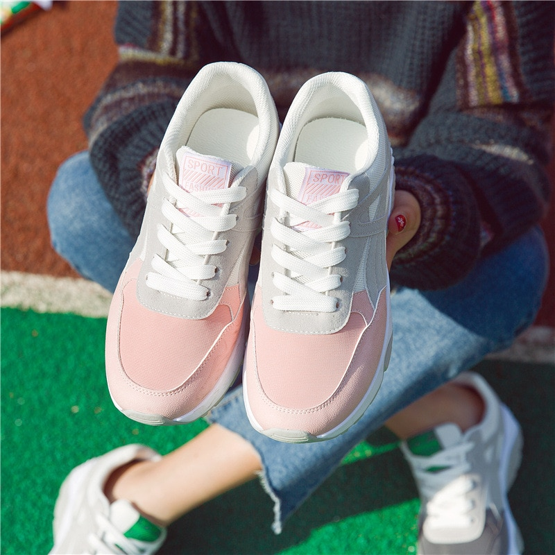Women Sneakers Breathable Outdoor Walking Shoes Woman Mesh Casual Shoes Pink Lace-Up Ladies Shoes 2021 Fashion Female Sneakers walking shoes reebok club c 85 bs6786 sneakers for female tmallfs