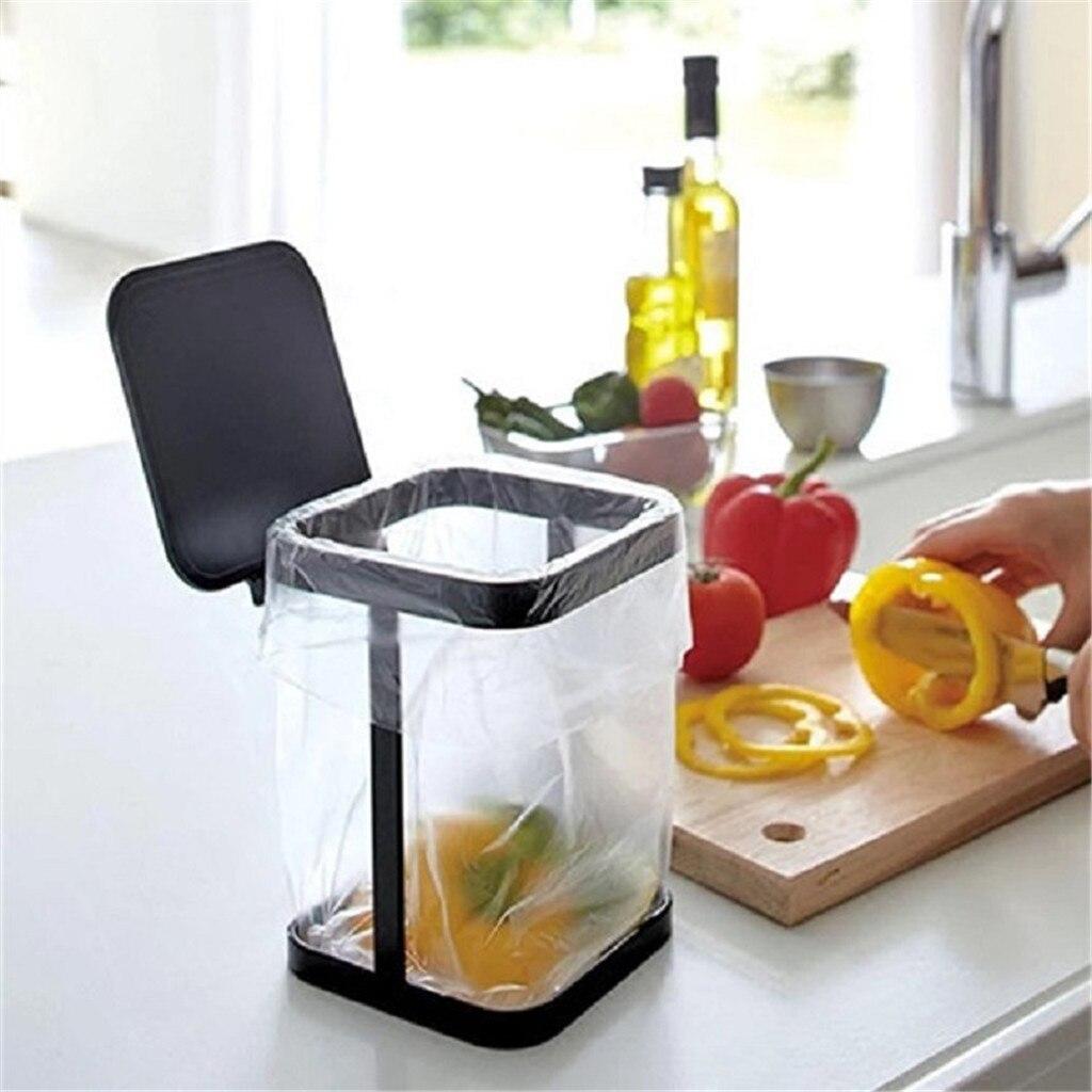 2020 Creative kitchen trash can Fashion Mini Countertop Trash Can Iron Flip Cover Counter Top Trash Can Dropshipping #0338