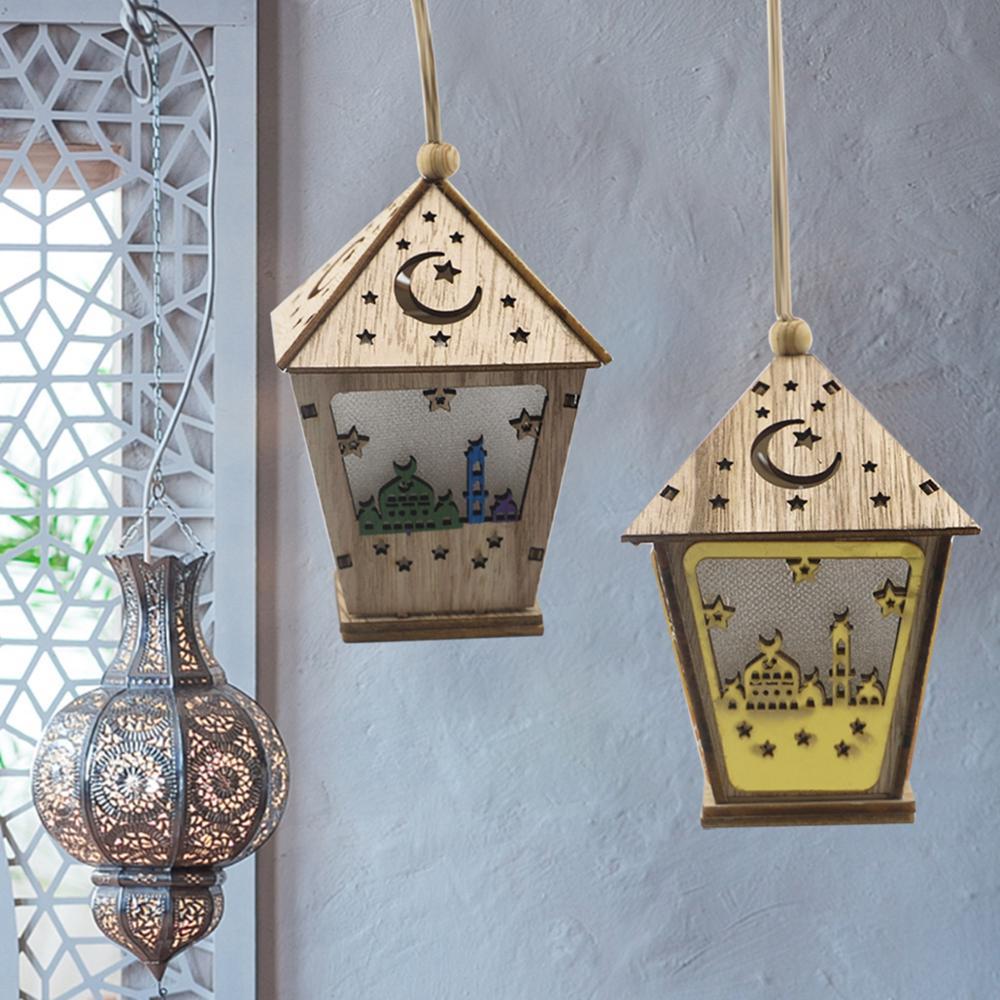 Fengrise DIY Wooden House With Led Light Pendant Eid Mubarak Ramadan Decoration for Home Islamic Muslim Party Supplies Kareem