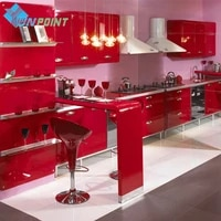 Film decoratif en vinyle PVC auto-adhesif  peinture rouge  impermeable  bricolage  papier peint pour meubles de cuisine  decoration de maison