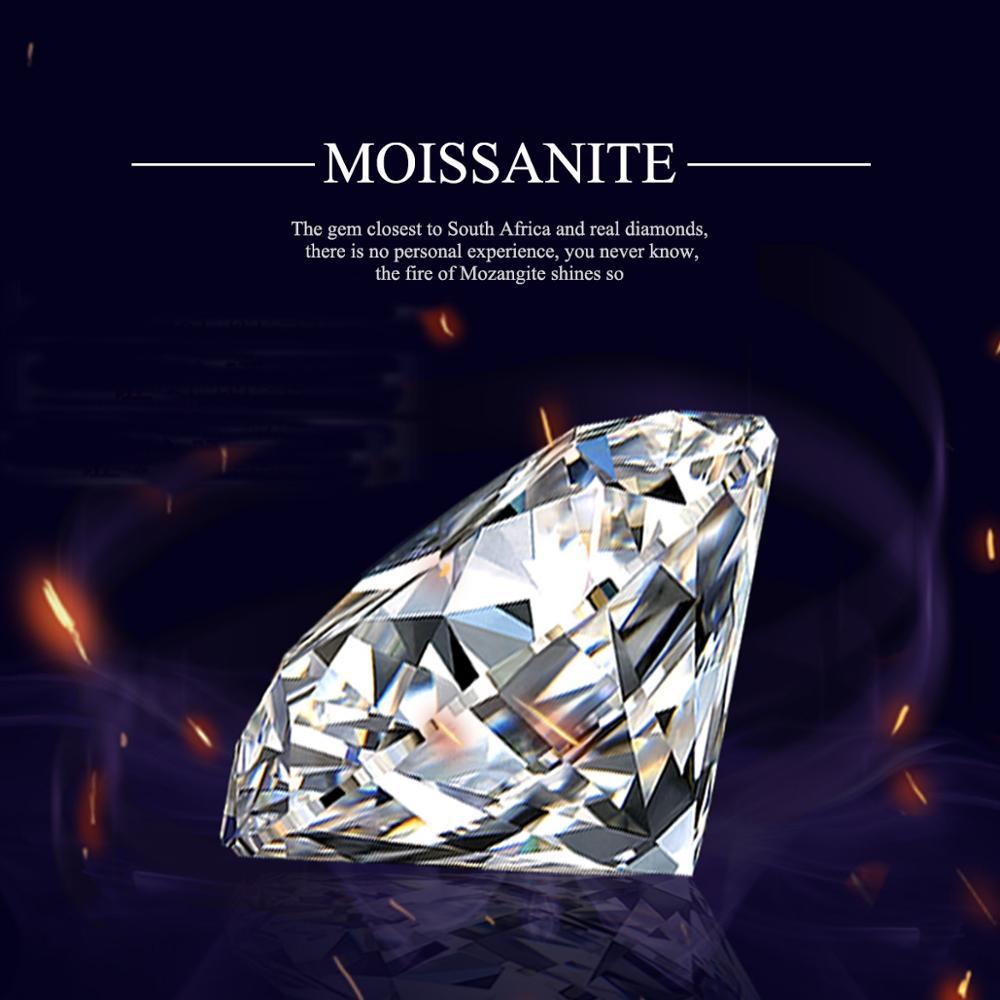 Szjinao – bague ronde en diamant de Moissanite, 100% pierres précieuses amples, couleur D VVS1, 6.5mm, bijoux avec certificat GRA, 1.0ct
