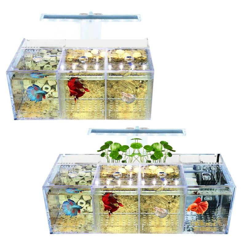 Aquarium LED Acrylic Betta Fish Tank Set Mini Desktop Light Water Pump Filters