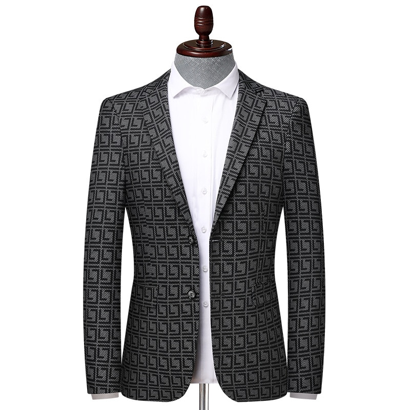 New Arrival High Quality Spring Autumn Men Suit Plaid Elastic Youth Single Breasted Casual Blazers Men Suits Plus Size M-3XL 4XL
