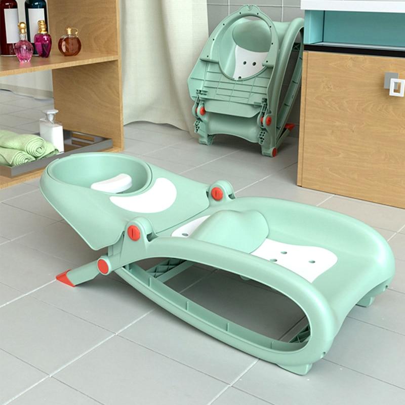 Infant Shining Baby Folding Shampoo Chair Baby Hair Wash Cartoon Cute Shampoo Recliner Baby Bath Comfortable Shampoo Chair