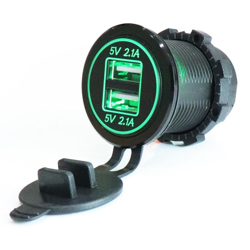 12-24V USB encendedor de cigarrillos del cargador de la motocicleta para la motocicleta de camión ATV barco LED COCHE 4.2A USB Dual del cargador del adaptador de alimentación de potencia de salida