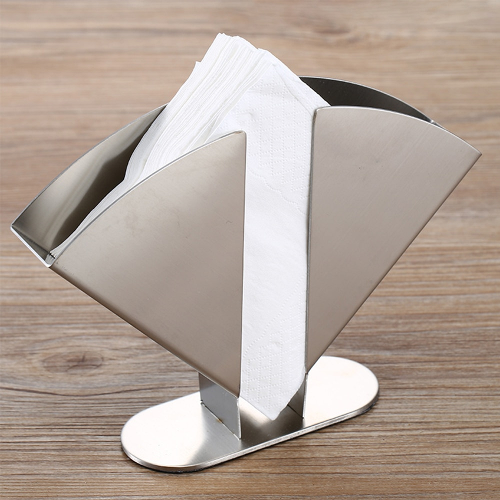 Stainless Steel Napkin Holder Decorative Tissue Paper Rack Serviette Dispenser Vertical Box for Dining Table Kitchen Countertop