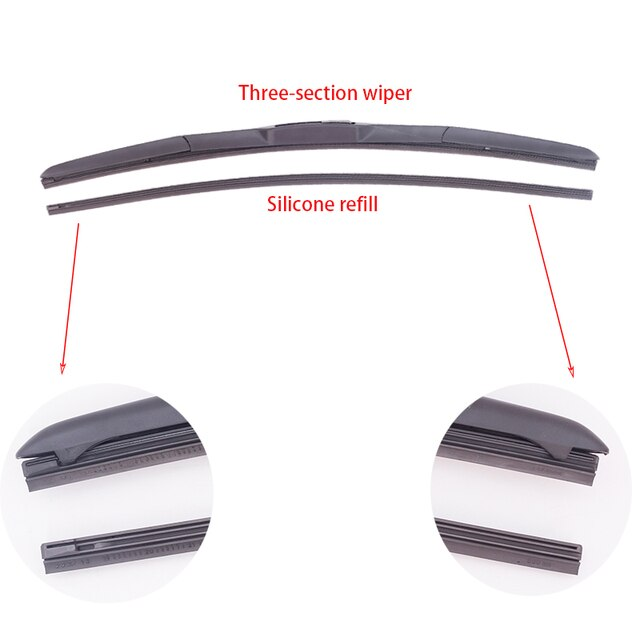 "2Pcs Wiper Blade Refill Silicone Strip Insert 28"" 8mm Wide Windshield Car Windows Windscreen Auto Parts"
