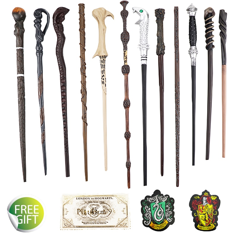 free shipping hp magical cosplay non luminous magical wand new in box with led light free train ticket 27 Kinds of Metal Core Potters Magic Wands Cosplay Malfoy Voldemort Magical Wand Sticks Cloth Label Tickets As Bouns Without Box