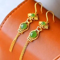 tingfeng vase tassel earrings eardrop s925 sterling silver natural hetian white jade inlaid retro with fluorescent green chalced