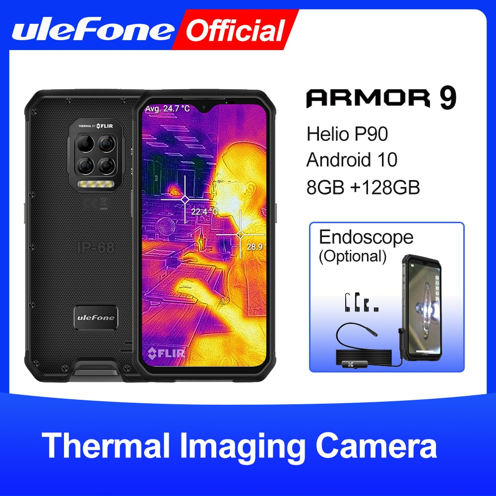 Ulefone Armor 9 Rugged Mobile Phone Thermal Imaging Camera FLIR® Android 10 128GB Smartphone Helio P90 Mobile Phone 6600mAh 64MP