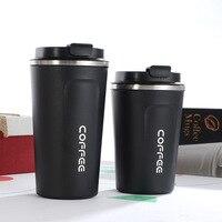 510/380 мл двойная кофейная кружка из нержавеющей стали премиум-класса, вакуумная фляга, бутылка для воды, портативный дорожный термос, Прямая ...