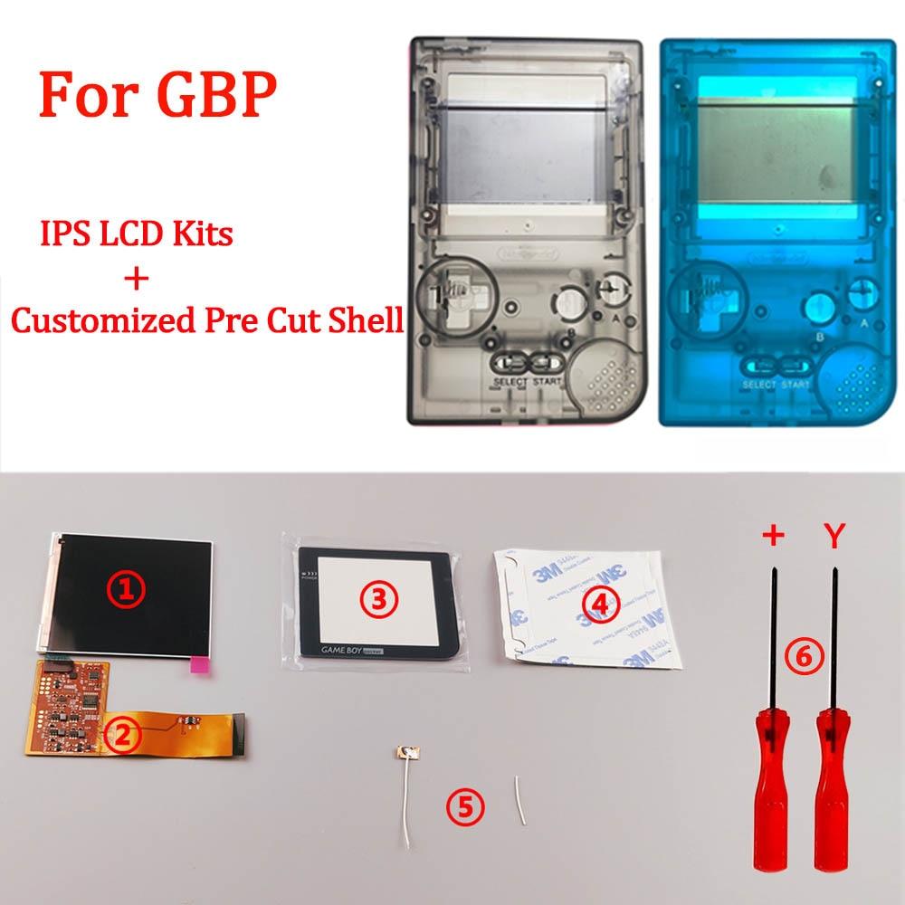 جديد مخصص الإسكان شل مجموعات ل GBP مع الخلفية شاشة LCD أطقم استبدال ل GAMEBOY جيب 10 ألوان قذيفة غطاء