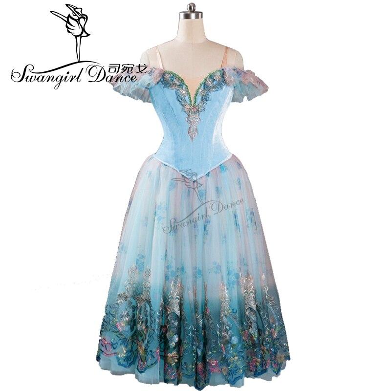 فستان رقص الباليه الأزرق النائم ، زي رومانسي ، توتو ، للنساء ، BT9116