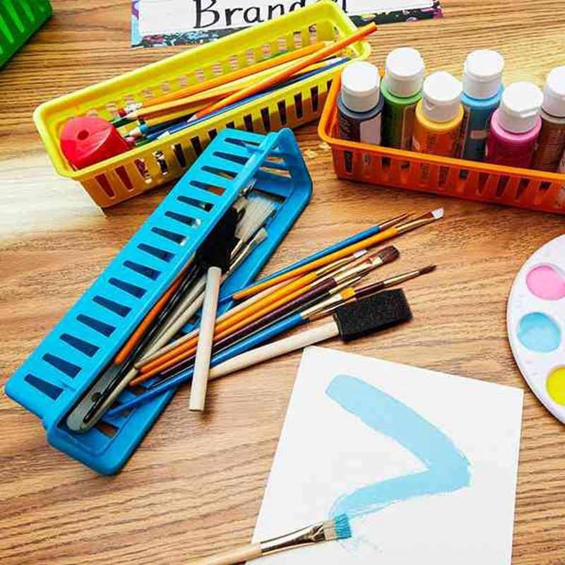 Organizador de lápis de sala de aula cesta de lápis ou crayon cesta, variedade de cores, cores ran (10 pacote)