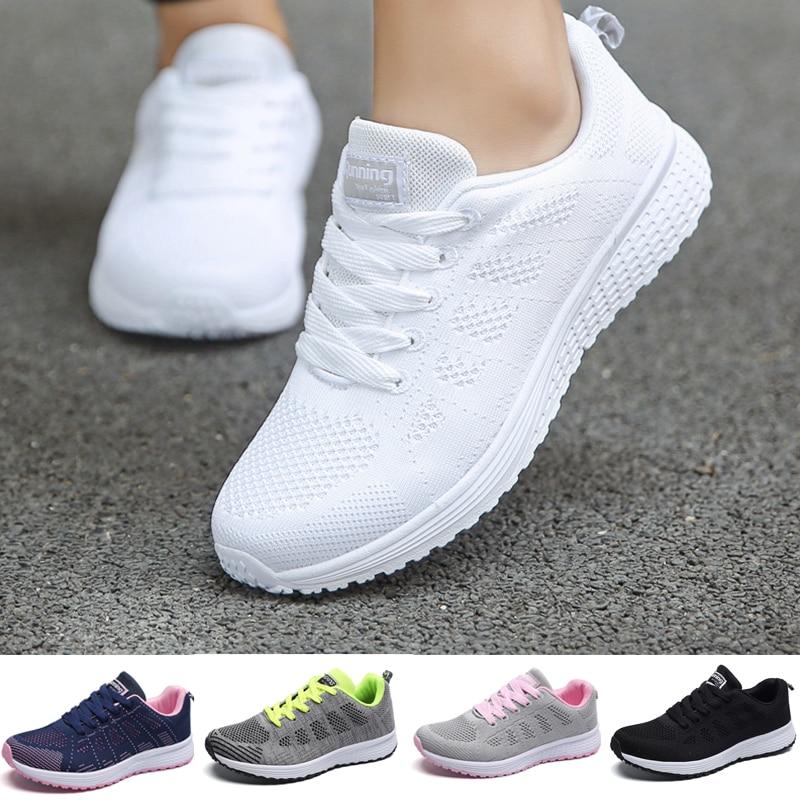 Moda feminina sapatos casuais respirável sapatos de caminhada malha plana mulher branca tênis sapatos para mulher 2021 tenis feminino calçado