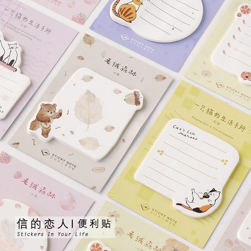Plüsch Wald Serie Nette Nachricht Sticky Note Memo Pad Kawaii Cartoon Tier katze hund bär Studenten Schule Liefert schreibwaren