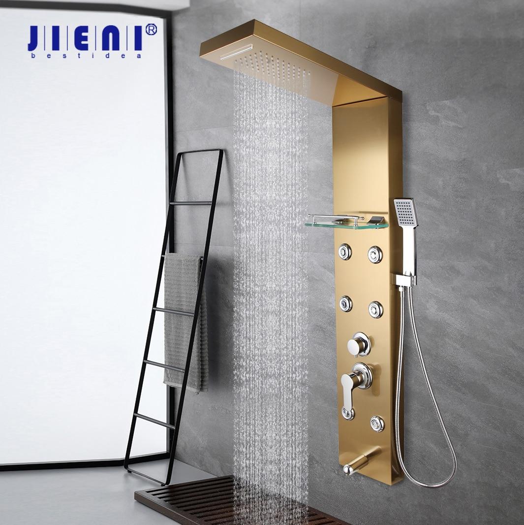 JIENI عالية الجودة الحمام عمود دوُش استحمام ذهبية مطلي الحائط ث/الجرف دش يدوي حوض صنبور تدليك نظام دش الاستحمام