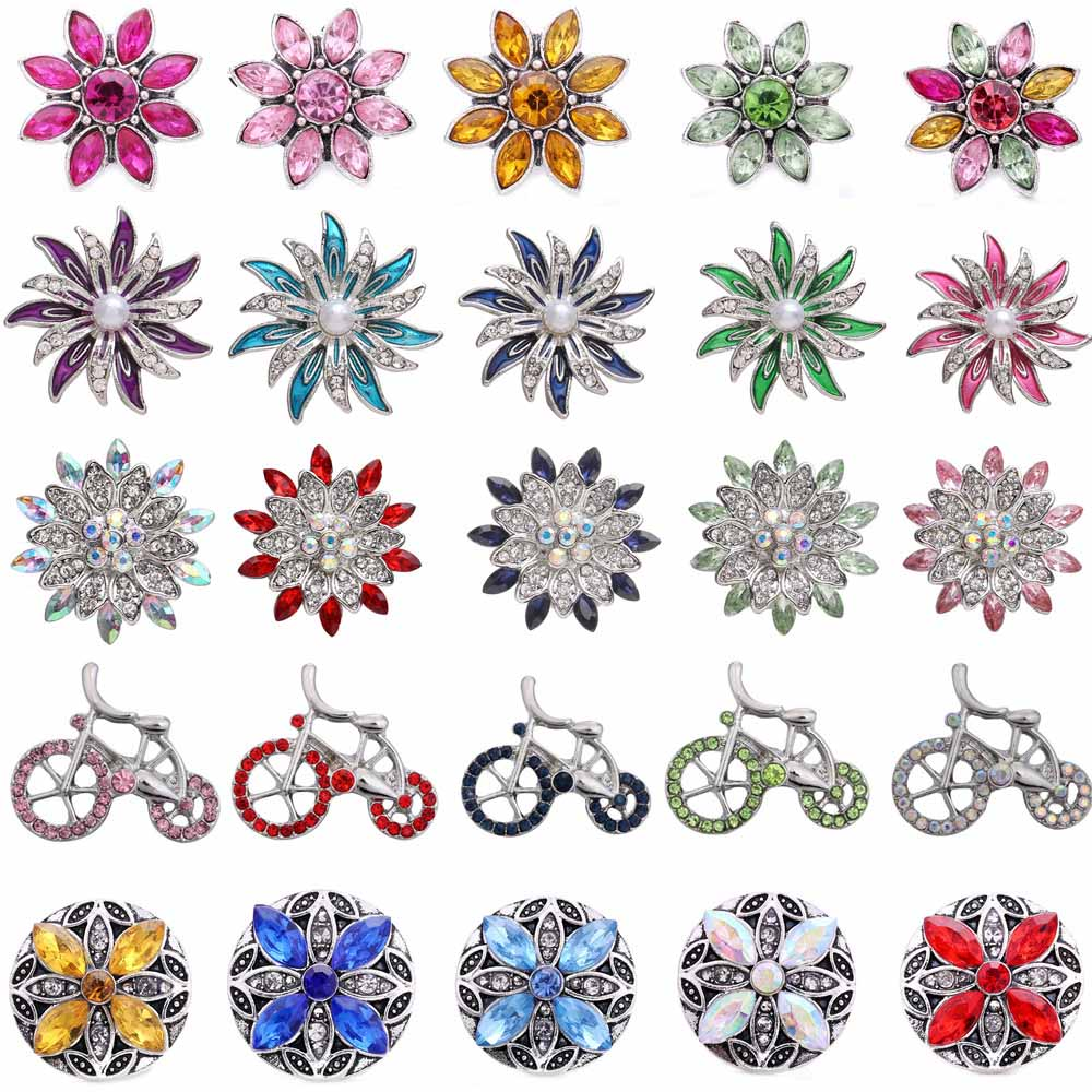 5 unids/lote nuevo 18mm broches joyería de alta calidad Diamante de imitación flor pájaro Metal bricolaje botones a presión encantos botón joyería