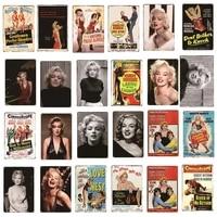 Plaques de Film de cinema Vintage en metal  signes en etain Marilyn Monroe  autocollants muraux  assiettes de decoration de Bar Club cafe  decoration de maison A14