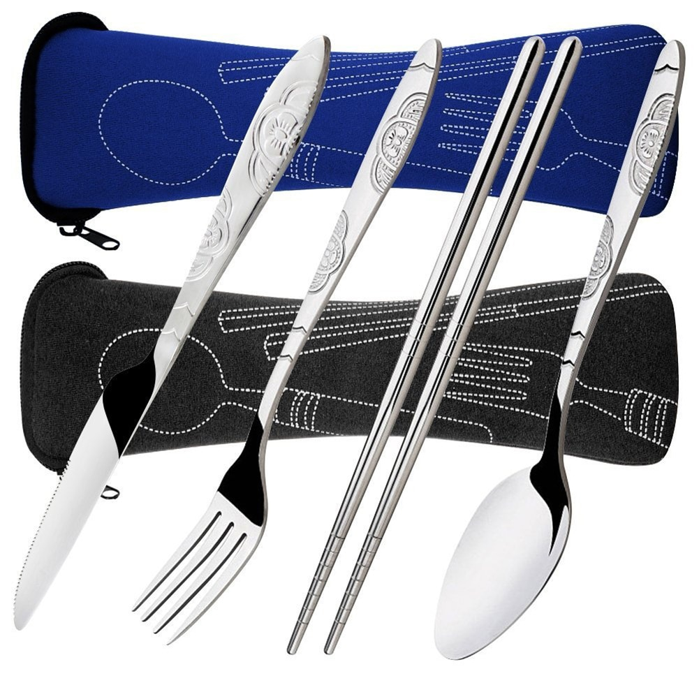 4Pcs/ Set Dinnerware Portable Printed Stainless Steel Spoon Fork Steak Knife Set Travel Cutlery Tableware with Bag Dropshipping