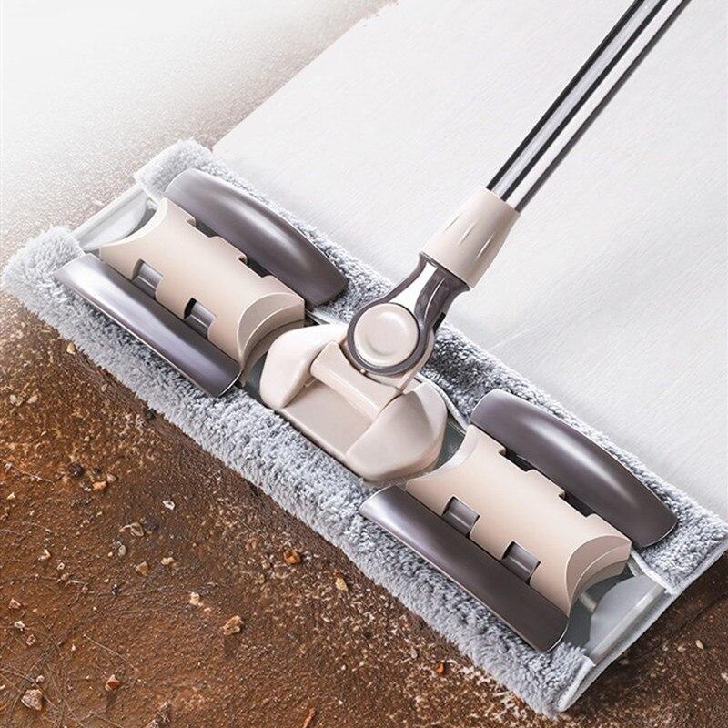 Fregona de limpieza de piso plana para el cubo de polvo Swob Magic & Easy & microfibra escoba giratoria hisopos de fibra Superfina