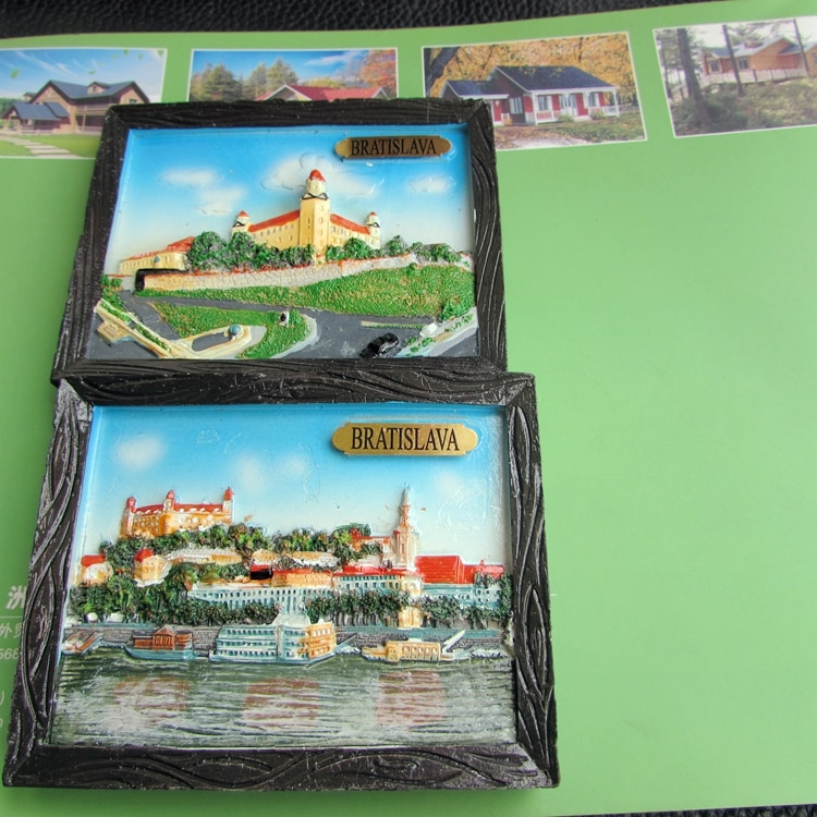 Colgantes grandes de resina para el castillo de Bratislava, imanes de nevera de la placa de Eslovaquia