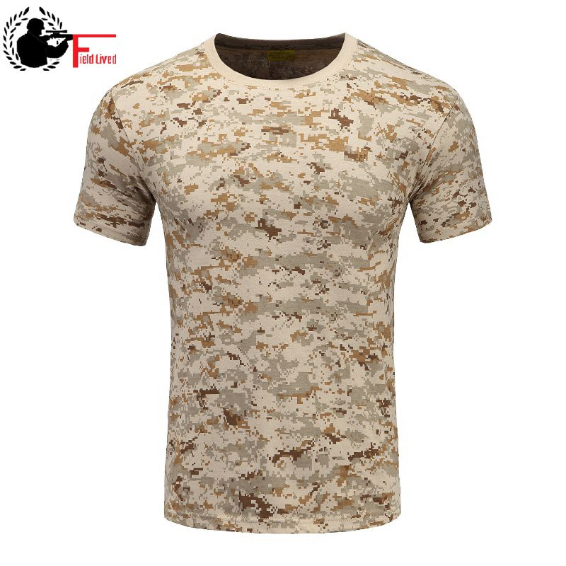 Ropa de camuflaje militar, camiseta de combate transpirable, camiseta de manga corta de verano para hombres, camiseta de soldado de camuflaje del ejército, camiseta para hombre