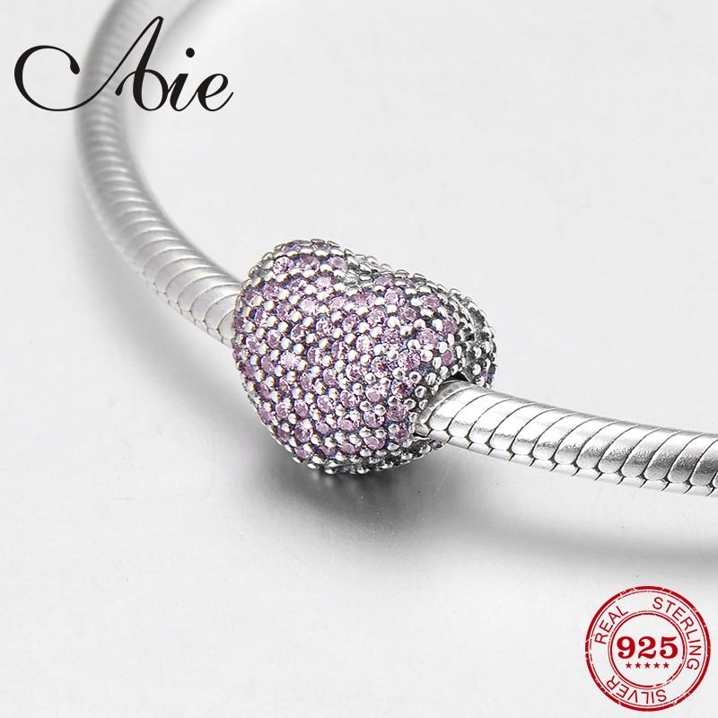 2018 New pink CZ heart shape 925 Sterling Silver fashion fine clips Lock bead Fit Original Pandora Charm Bracelet Jewelry making