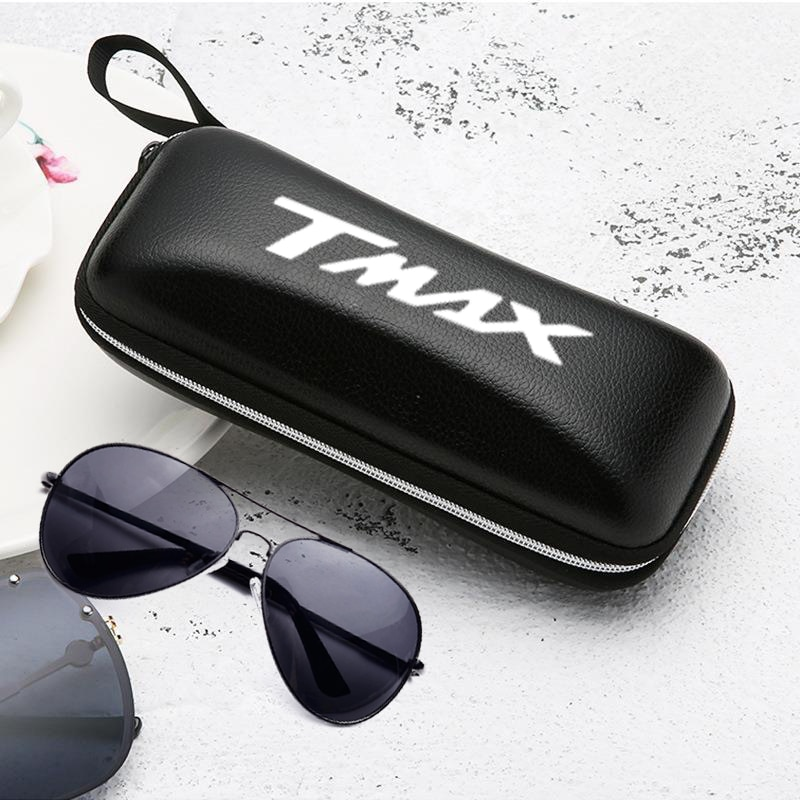 Black leather sunglasses case solar women man glasses for Yamaha T MAX 530 Tmax 500 T-MAX 560 tmax560 motorcycle accessories
