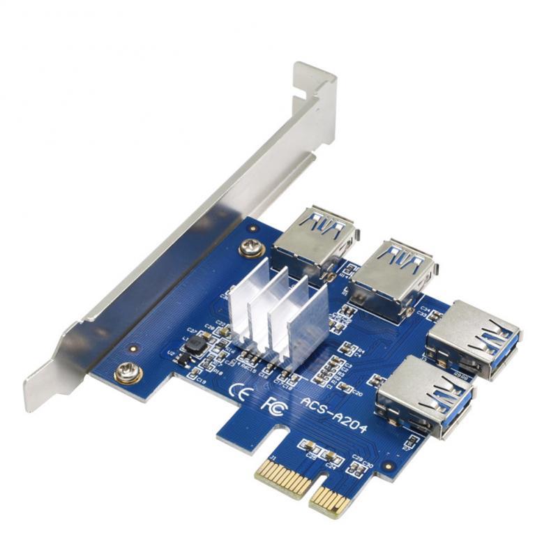 بطاقة PCIe صغيرة من 1 إلى 4 فتحات PCI Express 1X بطاقة ITX صغيرة إلى محول فتحة خارجي 4 PCI-e منفذ PCIe لوحة موسع بطاقة مضاعف