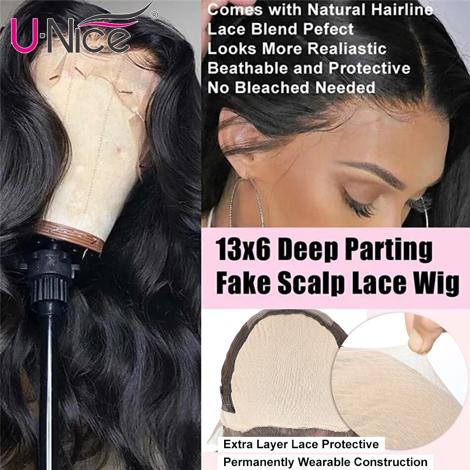 UNice Undetectable Fake Scalp Wigs Body Wave 10-26 Inch Lace Front Wigs Glueless Pre-made Fake Scalp Wigs With Bleached Knots